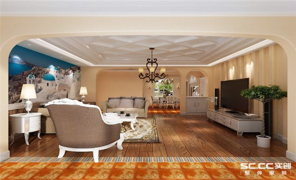 客厅设计: 为避免业主感觉空间中规中矩,在所有的阳角处采用倒角工艺,墙面的圆滑让空间看起来更加舒适。