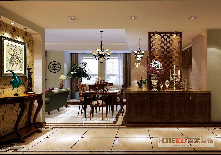 三居 美式 餐厅图片来自百家装饰杨乐乐在中海寰宇天下140的分享