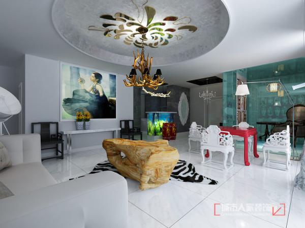 客厅顶金菊团簇怒放给人以团圆和温馨。中式传统的太师椅和方桌体现居家装饰中正平和相对随意的茶海又增加几分惬意,地上斑马皮地毯有给传统中式元素增加几分时尚感。