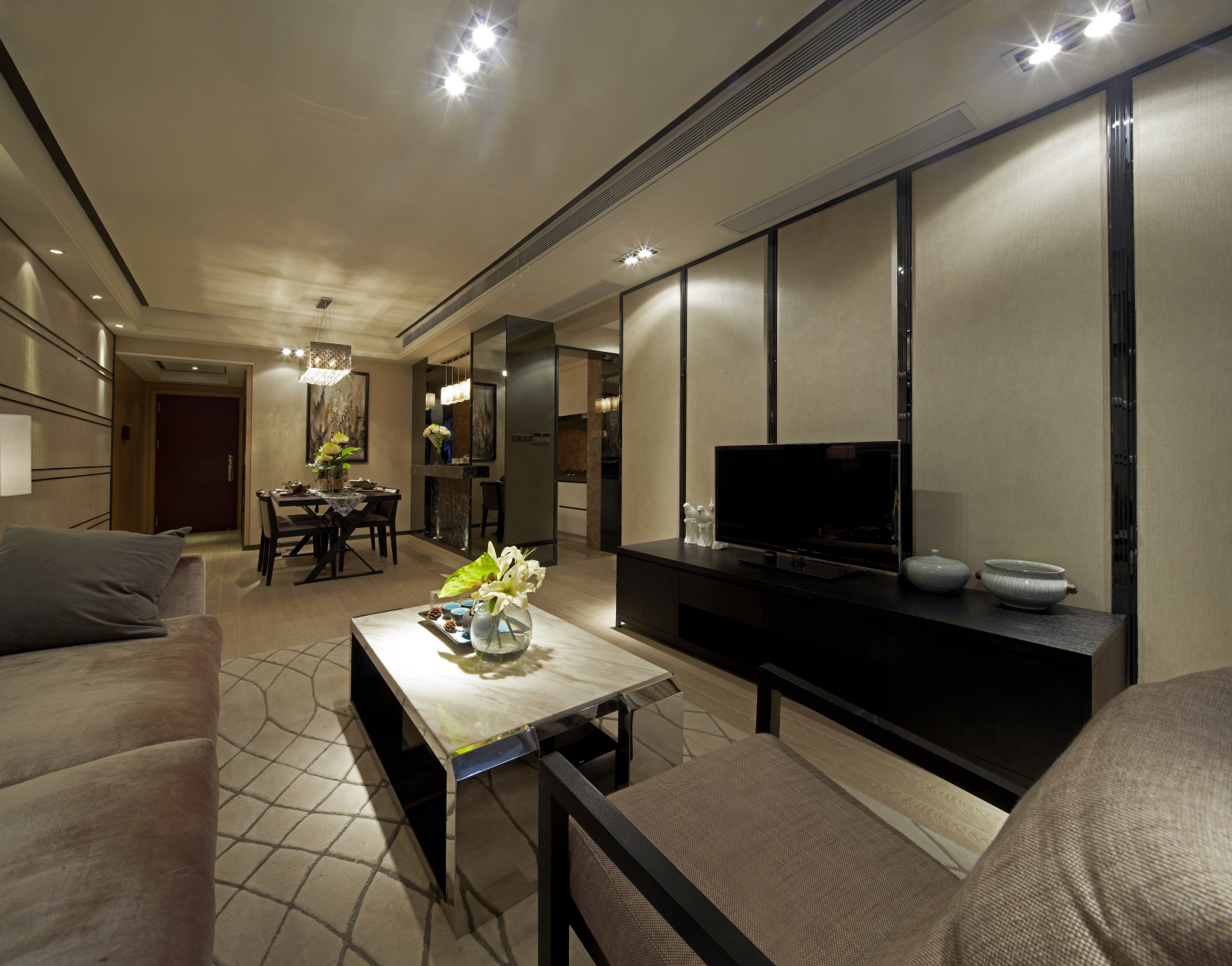 二居 简约 客厅图片来自百合居装饰工程有限公司在现代简约 蓝都会的分享