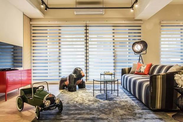 二居 滨江御景 现代 复古 时尚 客厅 餐厅卧室 书房 客厅图片来自实创装饰晶晶在滨江御景100平时尚复古二居之家的分享