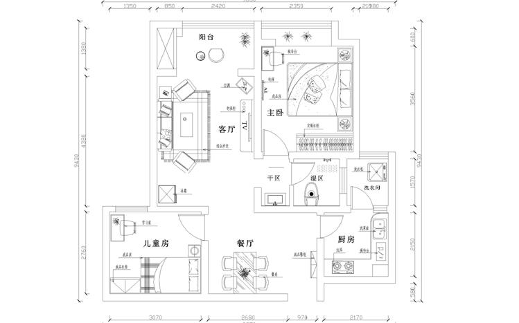 建业贰号城 现代 两居 家装 户型图图片来自郑州实创装饰啊静在建业贰号城邦现代两居的分享