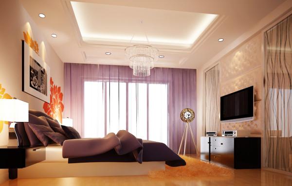 卧室床头背景墙和客厅色遥相呼应,小花做点缀,淡紫的纱帘若隐若现,浅黄色的软包再配以高贵典雅的圆形水晶吸顶灯,将整个房间的春天般的色彩发挥的淋漓尽至。