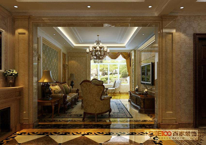 三居 美式 客厅图片来自百家装饰杨乐乐在橡树湾135美式的分享