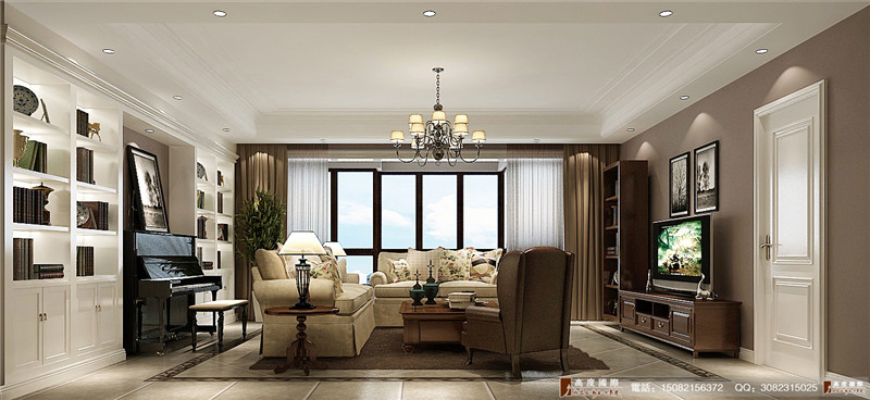 高度国际 别墅装修 成都装修 书房图片来自成都高端别墅装修瑞瑞在简约美式----成都高度国际装饰的分享