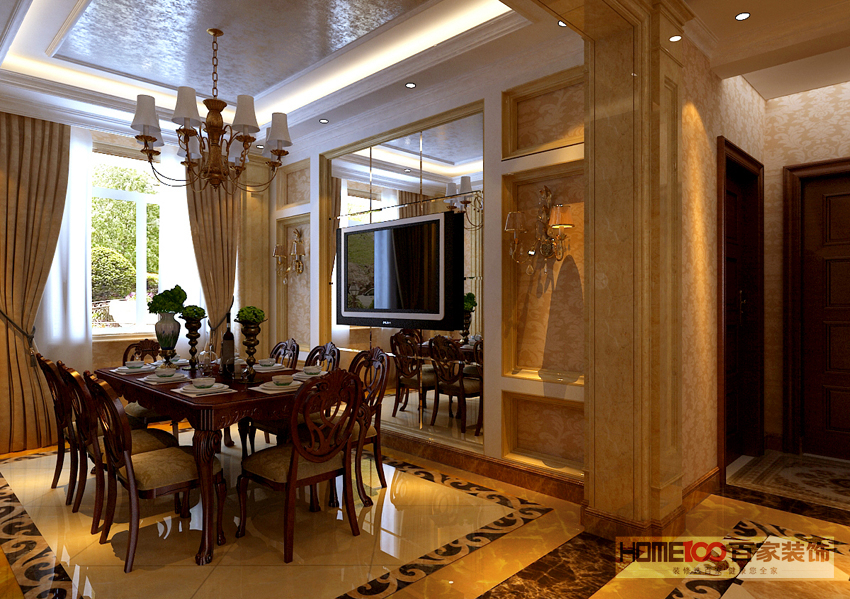 三居 美式 餐厅图片来自百家装饰杨乐乐在橡树湾135美式的分享