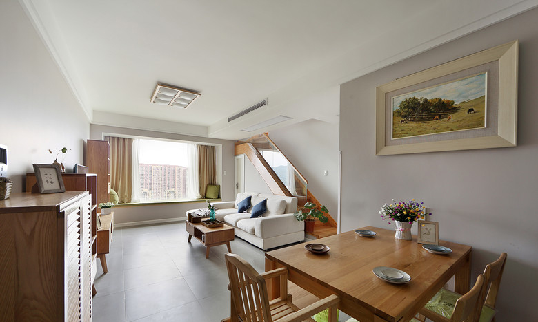 客厅图片来自家装大管家在125平原木时尚复式 营造轻松自然的分享