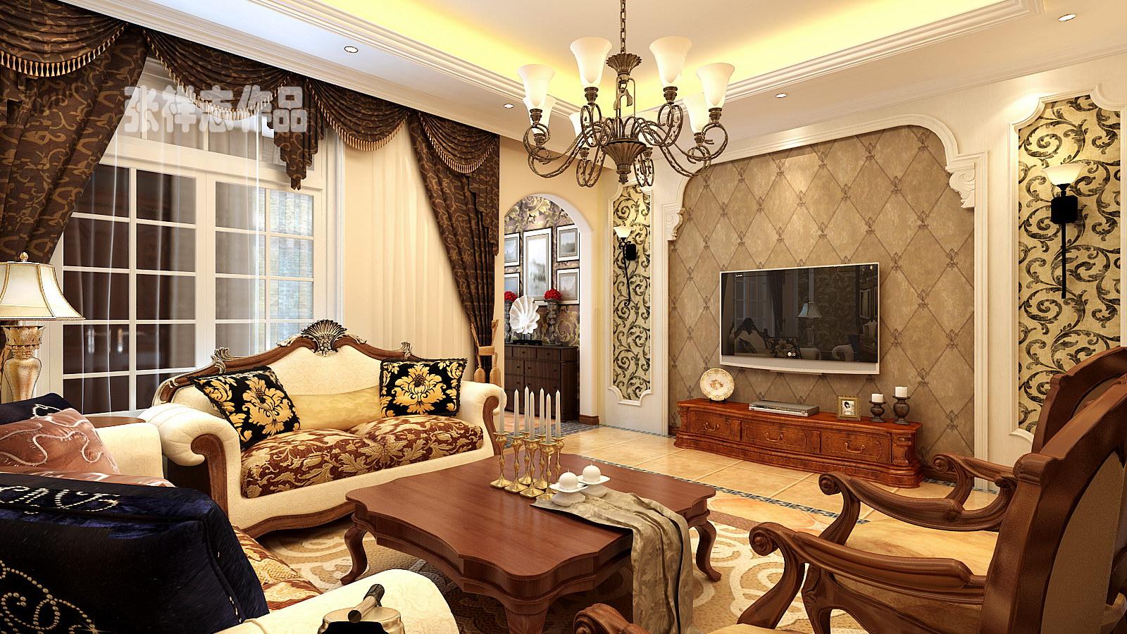 别墅 美式 客厅图片来自快乐彩在德郡中间户大宅别墅美式装修风格的分享