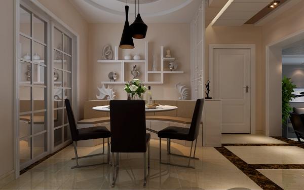 餐厅位置的墙面用隔板做装饰,隔板不但美观实用又有很好的风格突显作用