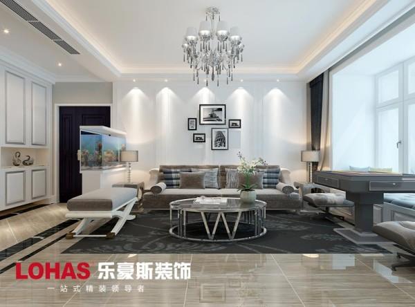 整个客厅采用黑白灰三种颜色做为设计三原色,整个构图简单