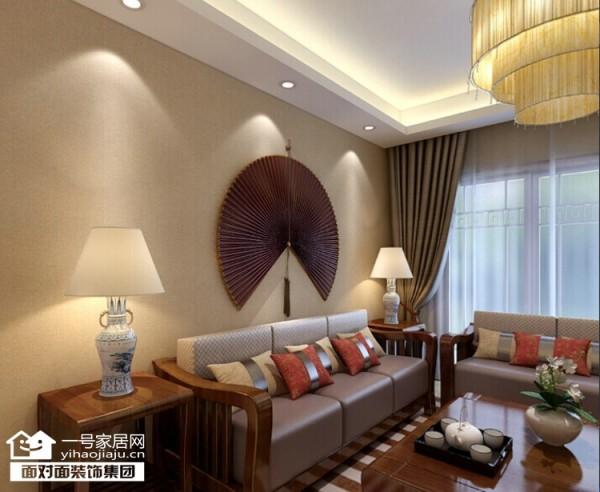 橡树湾94平新中式风格沙发背景墙效果图【武汉一号家居网】