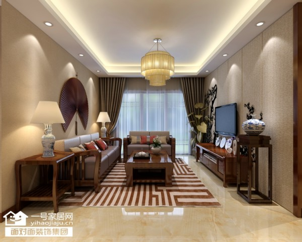 橡树湾94平新中式风格客厅效果图【武汉一号家居网】