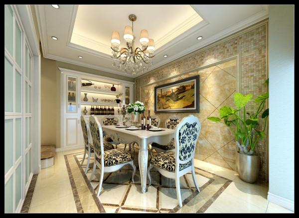 餐厅的装饰采用了马赛克做点缀装饰,细节处体现屋主人细致优雅的生活态度和对高品质生活质量的追求;