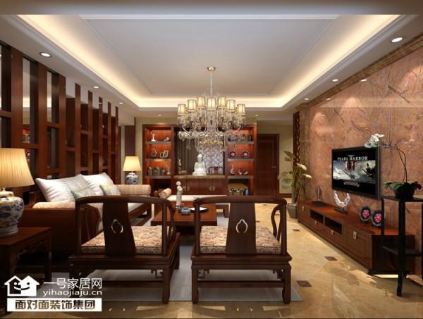 奥山世纪城160平新中式风格客厅效果图【武汉一号家居网】