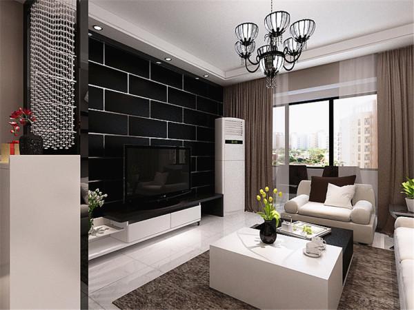 这是华亭国际两室一厅一厨一卫90㎡的户型。这套户型做的是现代简约风格。