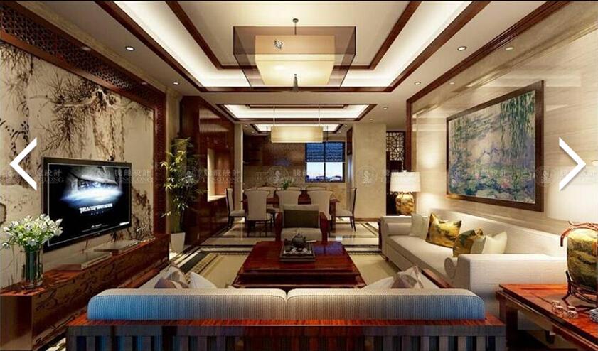 海德花园 装修设计 中式风格 腾龙设计 周峻作品 客厅图片来自孔继民在宝山海德花园234平别墅新中式的分享