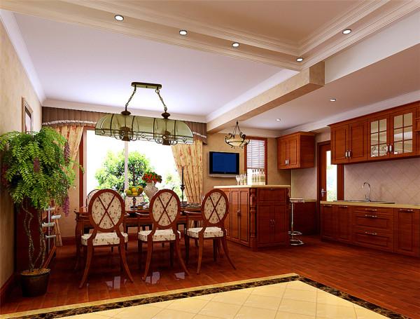 """客厅地面运用了石材实木地板,欧式橱柜和壁纸的效果,大气而不复杂,稳重而不凌乱,显示出餐客厅的整体视觉效果。顶面运用了石膏线加石膏板造型,使人有""""天人合一""""的感觉。"""