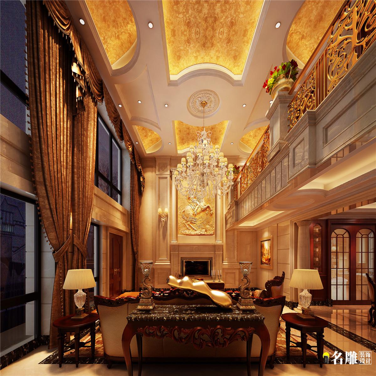 欧式 别墅 复式 300平 欧式豪宅 名雕装饰 深房传麒山 客厅图片来自名雕装饰设计在深房传麒山欧式别墅的分享