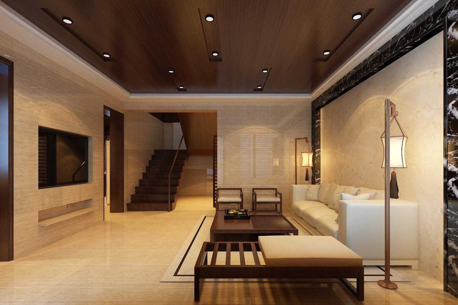 复式 中式 旧房改造 别墅 客厅图片来自赵修杰在100平复式案例的分享