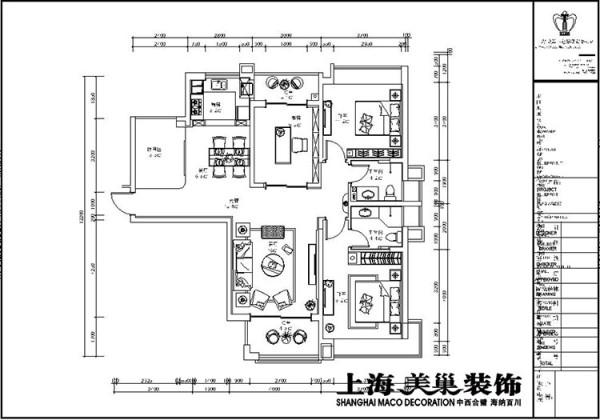 瀚宇天悦131平方三室两厅装修平面设计方案