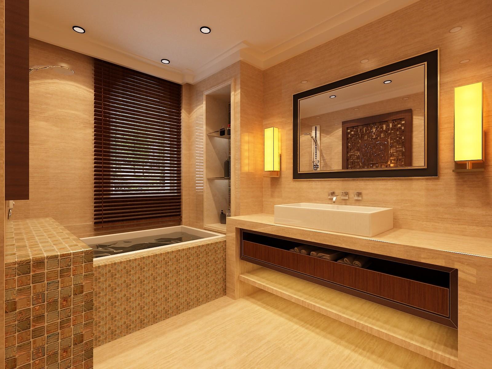 复式 中式 旧房改造 别墅 卫生间图片来自赵修杰在100平复式案例的分享
