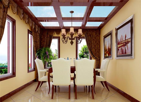 厨房为开放式,有很强的通透性,吃饭,做饭,休闲合理的溶为体,使整个空间更加灵活,让主人在用餐时有种回归自然的感觉,加上餐厅的装饰画显得更加舒适,更加人性化。