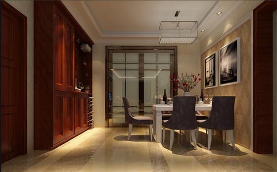 餐厅和厨房空间格局分明,采用简单的吊顶和线条灯具搭配,让进餐空间更加放松。
