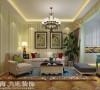 盛润锦绣城装修83平两室两厅美式乡村装修效果图--客厅