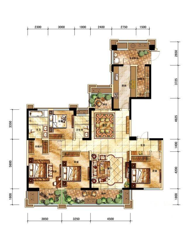现代 美式 混搭 四居室 户型图图片来自朗润装饰工程有限公司在中海城南华府 奢华现代美式的分享
