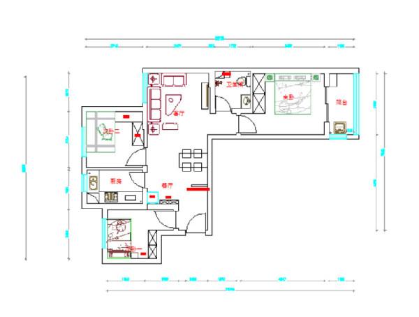 九龙城85平2室2厅现代简约风格装修效果图-平面设计方案