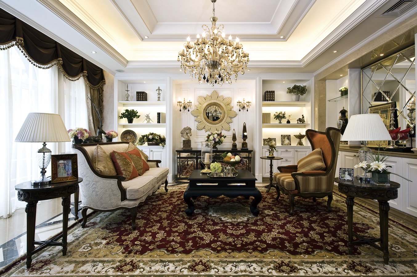 现代 美式 混搭 四居室 客厅图片来自朗润装饰工程有限公司在中海城南华府 奢华现代美式的分享