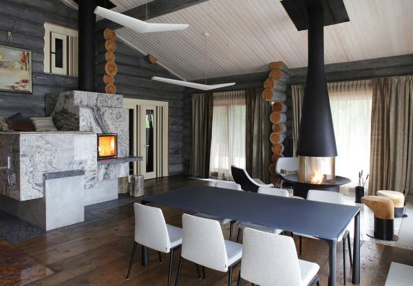 室内采用大理石与原木搭配同样给人一种自然的感觉。