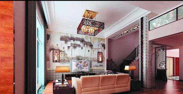 像周庄风景的电视背景墙在客厅静静的舒展开来。