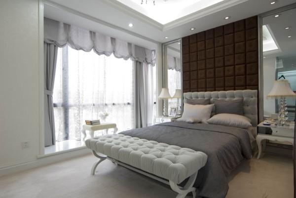 卧室背景墙的设计很大气,对称的设计加上墙面的软包设计,给人的感觉很大气、时尚。