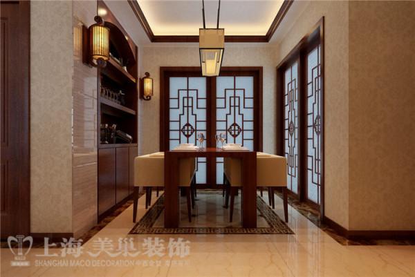 锦艺国际华都130四室两厅新中式装修样板间效果图——餐厅全景效果图