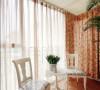 阳台布艺窗帘也是要和整个风格搭配,碎花的加上白色的椅子带点浅色花图案。