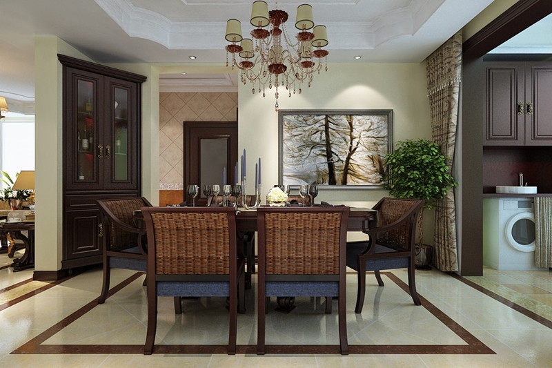 美式 三居 80后 餐厅图片来自快乐彩在【花样年华】120平美式装修风格的分享