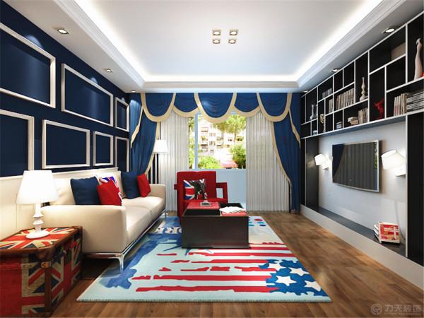 本案围绕英式风格为主题,英式风格的特点是家居首先要实用,所以一般来说没有太多纯装饰性的东西。把设计感融入功能性当中,简介明快,实用大方。墙壁都是国旗的蓝色,家具有国旗中的红色。