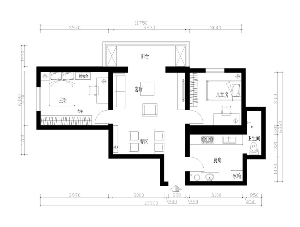 白领 收纳 80后 小资 旧房改造 三居 户型图图片来自实创装饰完美家装在天通苑175平新中式风格案例赏析的分享