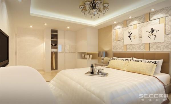 卧室设计: 通过一些配饰很好的诠诠释出现代简约的简洁,大方的感觉。此空间最大的亮点在于它本身有个主卫,客户不喜欢别人进卧室就找到卫生间,确保隐私,将卫生间的门作成隐形门