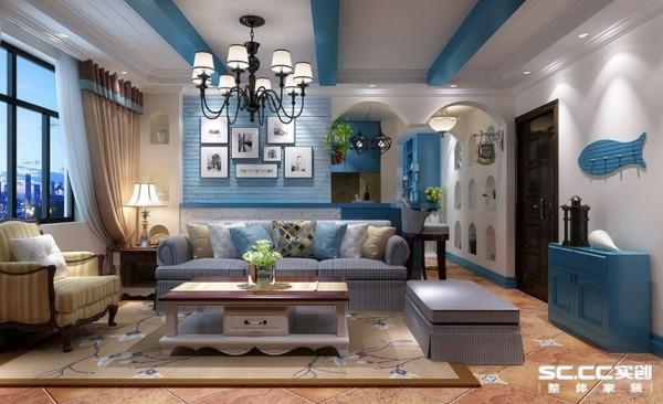 客厅中圆拱门及回廊采用数个连接,在走动的观赏中,出现延伸般的透视感,家中墙面出,运用半穿凿的方式来塑造了室内的景中窗,情趣无处不在