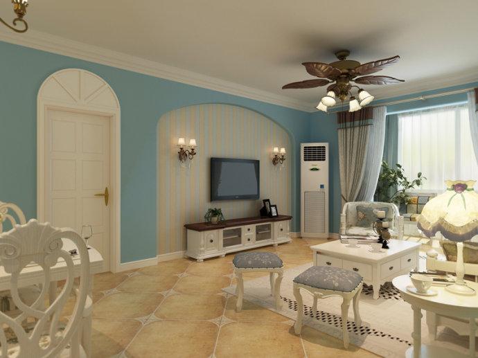 蓝海港湾 三居 地中海 家装 客厅图片来自郑州实创装饰啊静在正商蓝海港湾125平地中海三居的分享