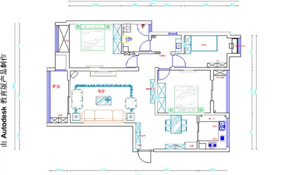升龙城AI户型136平三室两厅地中海风格装修户型图