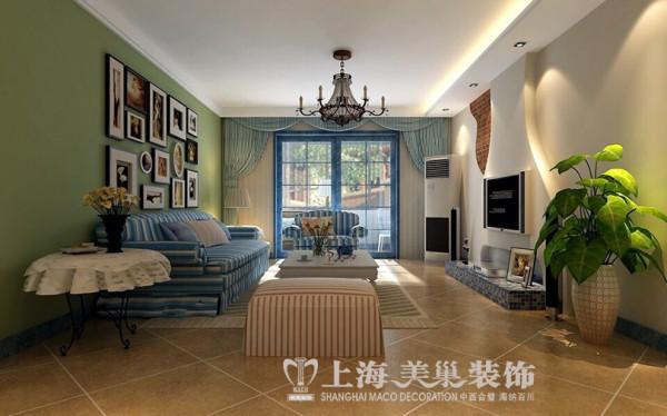 升龙城136平三室两厅地中海风格装修效果图--客厅