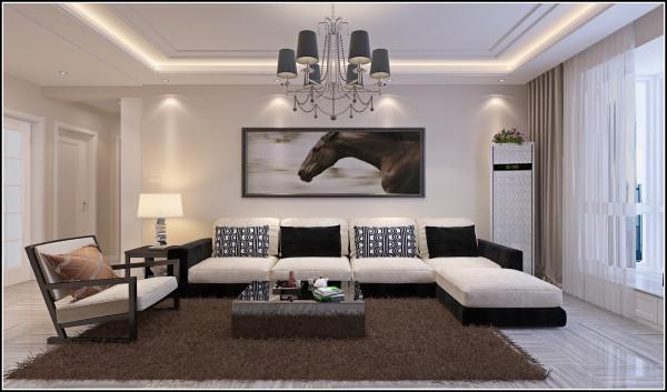 客厅沙发墙面设计效果,客厅顶部采用简单的回型灯池进行设计,线条简单、干练。符合现代人对生活的要求简单时尚。
