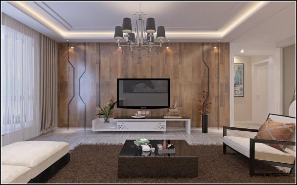 客厅的电视墙设计效果,采用模板设计。模板装饰质感要比壁纸好,在现代简约风格设计中,经常被用作电视墙等方面的装饰。