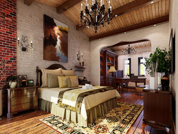 美式家居的卧室布置较为温馨,作为主人的私密空间,主要以功能性和实用舒适为考虑的重点,根据主人的喜好,合理运用了文化砖的点缀,使整个空间变的更加富有层次感。