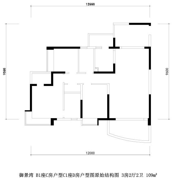 御景湾 B1座C房户型C1座D房户型图原始结构图 3房2厅2卫 109m²
