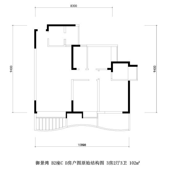 御景湾 B2座C D房户图原始结构图 3房2厅3卫 102m²