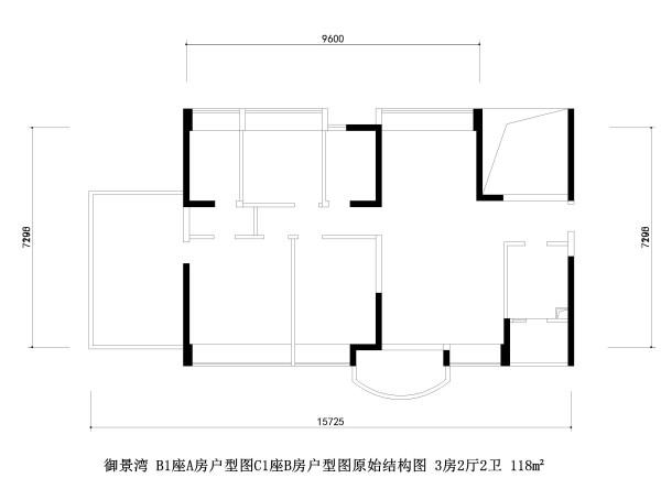 御景湾 B1座A房户型图C1座B房户型图原始结构图 3房2厅2卫 118m²